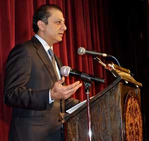 Preet Bharara speaking at Luncheon